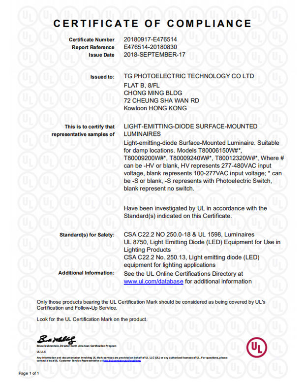 Tglights Received Ul Certificate For T800 Led Linear High Bay Led